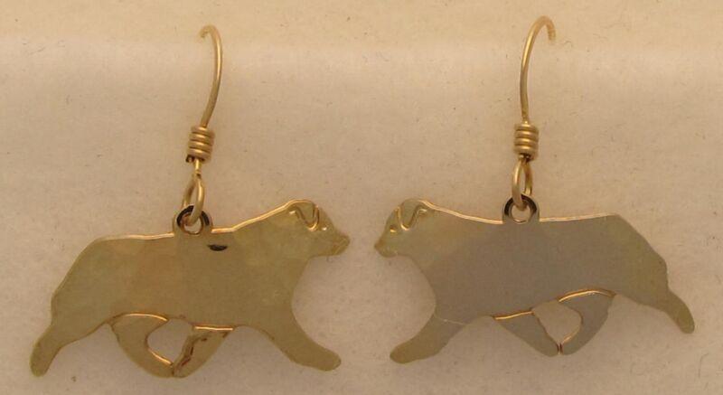 Australian Shepherd Jewelry Gold Dog Only Earrings