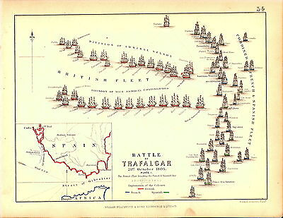 Map - Battle of Trafalgar 21 October 1805 - Opening Stages - Napoleonic Wars