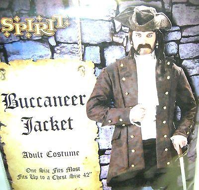 """I Spirit Halloween (Spirit BUCCANEER JACKET Brown Adult Costume Size 42"""" Halloween Pirate Coat New)"""