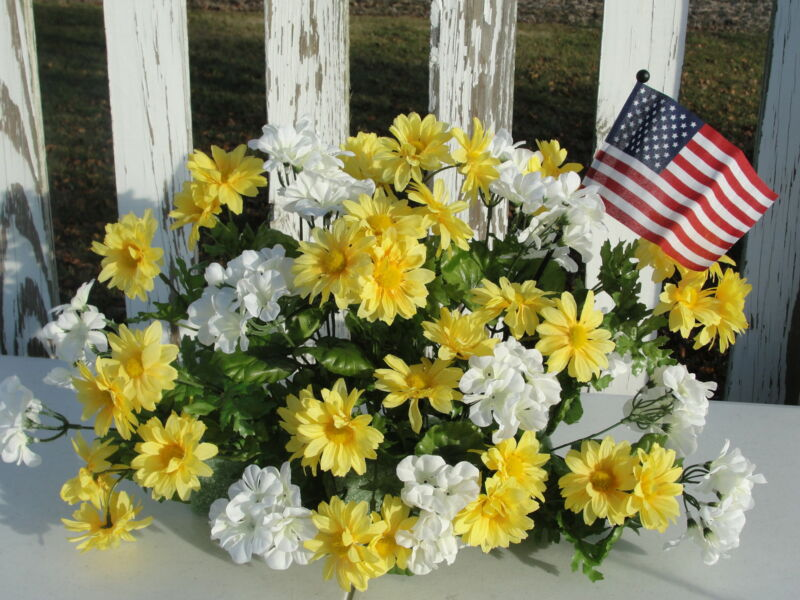 Labor Day Silk Flowers Cemetery Memorial Service Yellow Daisy White Geraniums