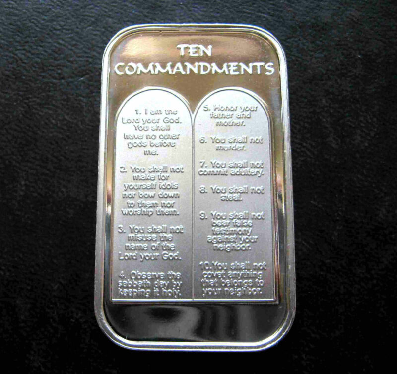 1oz TEN 10 COMMANDMENTS .999 PURE SILVER BAR ~ UNC & SEALED IN VINYL !