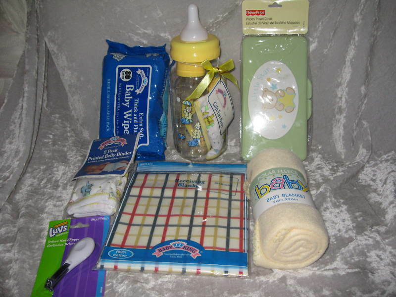Yellow Baby Bottle Bank Bib Blankets Clippers Wipes NEW