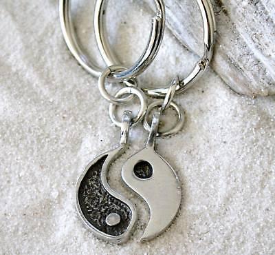 YIN YANG BUDDHA YOGA TWO IN ONE Pewter KEY CHAIN Ring](Buddha Keychain)