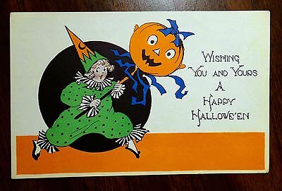 Gibson HALLOWEEN COSTUMED GIRL WITH A JACK-O-LANTERN ON STICK Fantasy Postcard