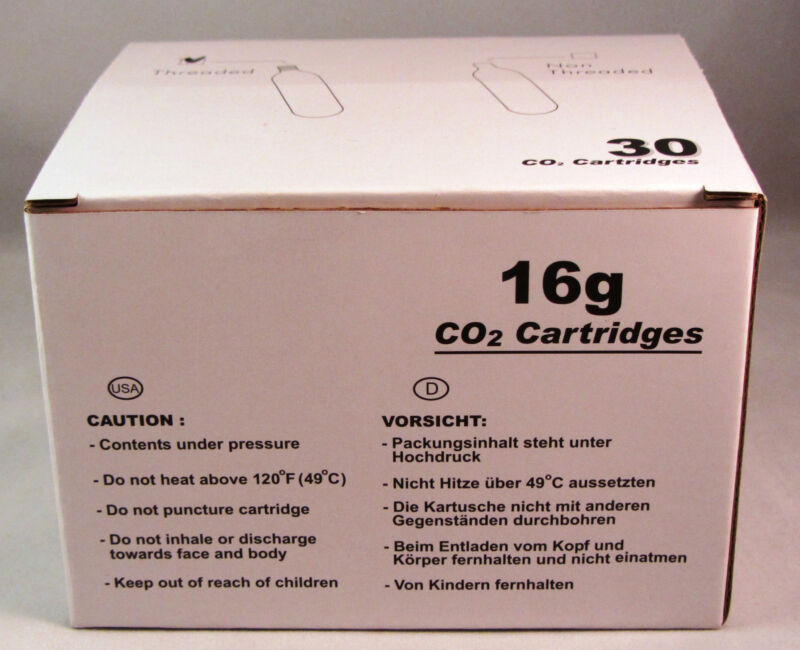 1 box of 30 CO2 16g Threaded Cartridges, Mr. Fizz, Keg, HVAC