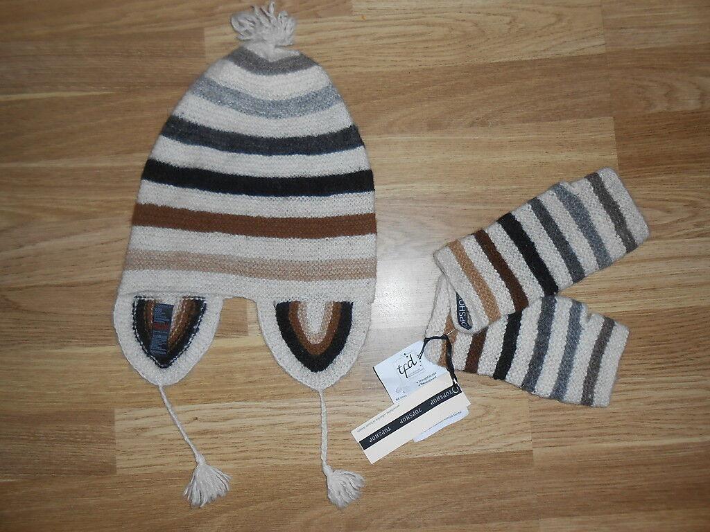 TOPSHOP Womens Ladies Fairtrade Stripe Hat Glove BNWT