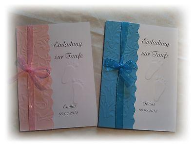 Einladungskarten zur Taufe in rosa oder blau mit Namen (Taufe Karten)