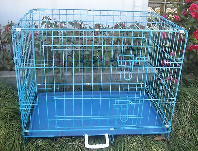 """New 30"""" 2 Door Blue Folding Suitcase Dog Crate Cage Kennel LC ABS Pan"""
