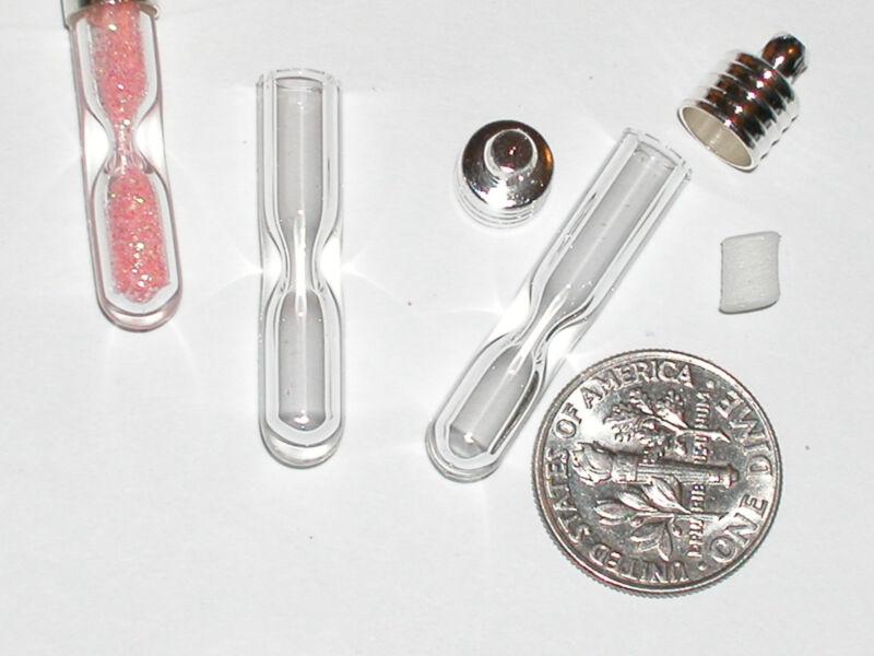 1  HOURGLASS little tiny glue on closure cap bottle necklace Pendant Vial charm
