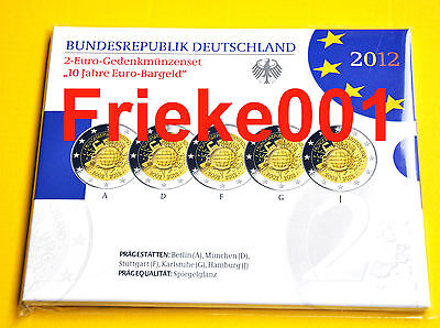 Duitsland - Allemagne - 5x 2 euro 2012 comm 10 jaar euro cash in blister proof.