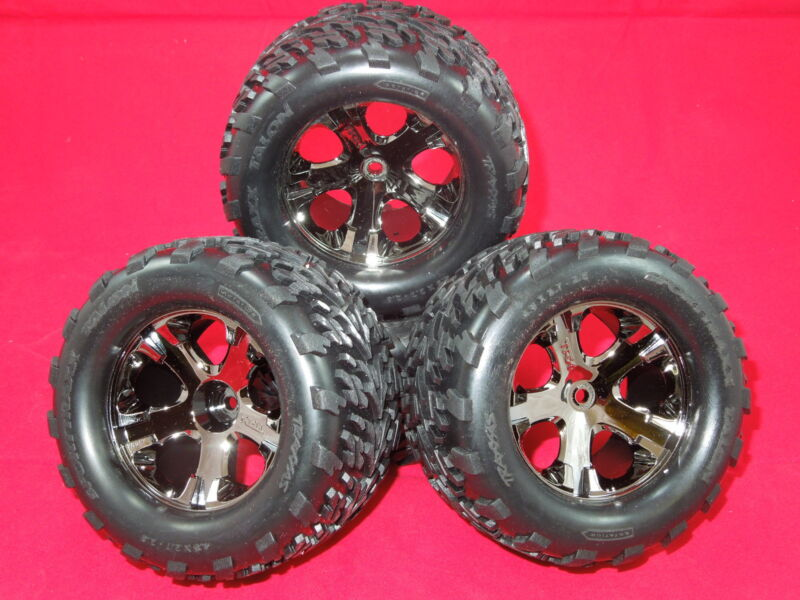 4 Traxxas VXL Stampede wheels Talon tires XL-5 Rustler new rims Black Chrome NEW