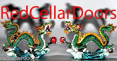 New Pair of Colorful Fu Dogs Land Dragons w Red Chi Ball Energy Protection Luck