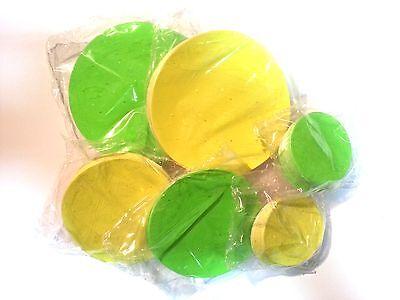 6 x 50 St. Kreise Preisschilder selbstkl. Haftpapier 5,8,10 cm  gelb - grün (Gelber Kreis Papier)