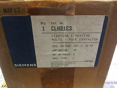 SIEMENS CLHB1C3 LIGHTING CONTACTOR 20 AMP 240 VOLT COIL 3 POLE #B7