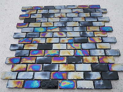Black Mosaic Tile ( ( Sample ) Diesel Black Brick Glass Mosaic Tile  )