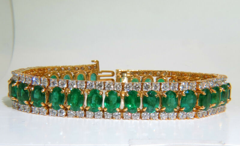 27.65ct Natural Green Emerald Diamond Bracelet F/vs 14kt Multirow+