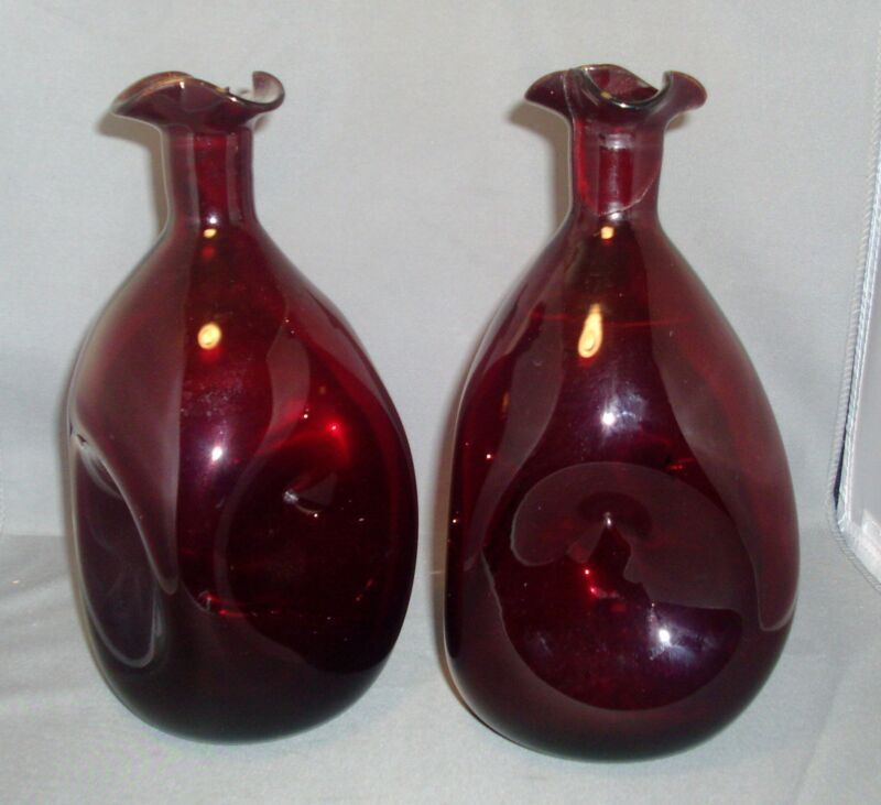 Pair Antique 19th century American Blown & Pinched Glass Ruby Decanters
