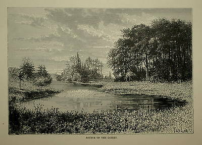 FRANCE. SOURCE OF THE LOIRET. ENGRAVED VIEW CIRCA. 1880