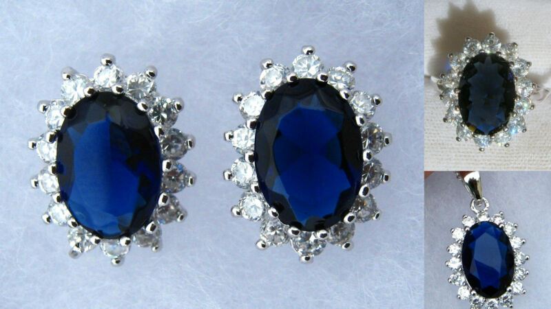 Royal Blue Sapphire & White CZ Ring, Earrings & Necklace Set Sterling Silver 925