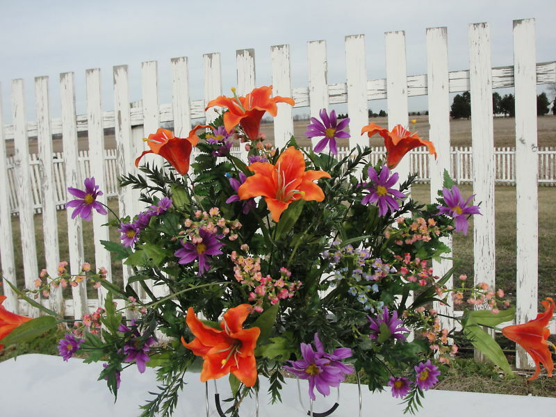 Grave Tombstone Saddle Orange Lilies Purple Daisy Luxury Custom Designs Welcome