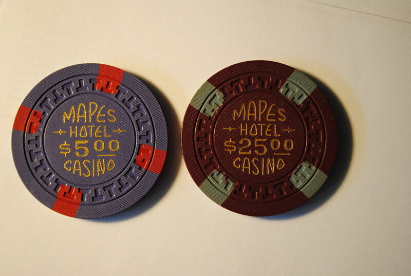 Casino Chips Reno Mapes   $5 $25 One Side Cancelled LP
