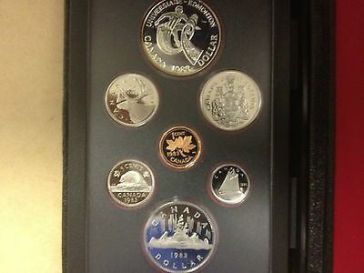 1983 Canada 7 coin Double Dollar proof set, COA , with Canadian silver dollar