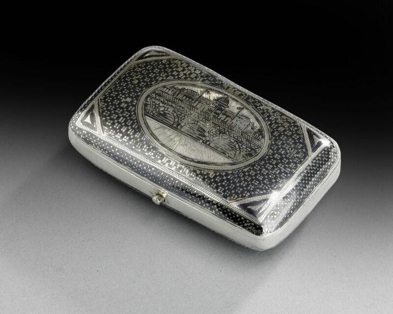 ANTIQUE OTTOMAN TURKISH SOLID SILVER GOLD VAN NIELO CARD CIGARETTE CASE 1900