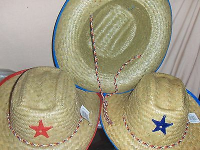 1 Childrens Western Straw Cowboy Cowgirl Sheriff Star Hat  - Childs Cowboy Hat