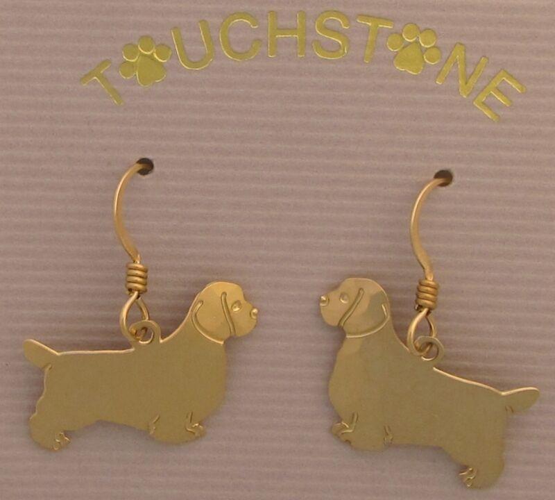 Clumber Spaniel Jewelry Gold Dangle Earrings