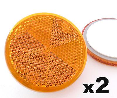 2x Self-Adhesive Stick-on Amber Round Circular Trailer Caravan Reflectors 50mm