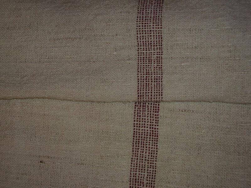 Antique European Feed Sack GRAIN SACK Red Stripes#1850