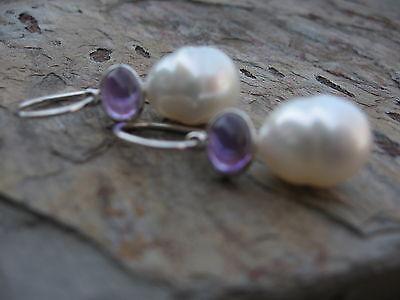 Gold Genuine Amethyst Earring - 14KT White Gold Amethyst & Genuine Paspaley South Sea Pearl Earring..........New
