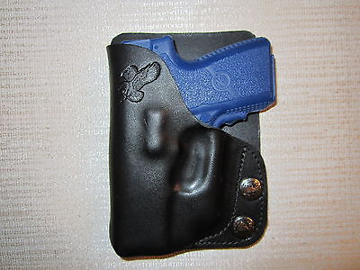 KAHR PM9 & CM9 WITH CRIMSON TRACE lase, leather, R H, wallet or pocket holster, used for sale  Shipping to Canada