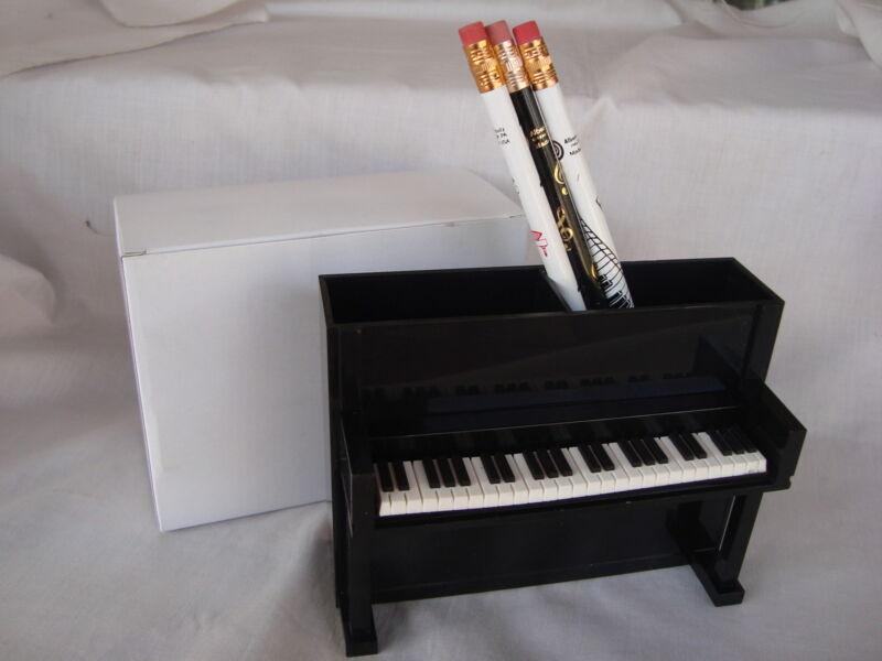 "PIANO Desk Caddy Black Upright 5.25"" L + 3 Music Pencils Great Music Gift NIB"