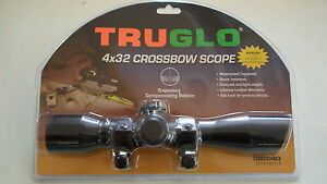 TruGlo 4x32 Black Crossbow Scope XBow w/ Rings - TG8504B3