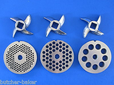 6 Pc Set Meat Grinder Disc 3 Plates  3 Knife For Lem Mtn Universal Hobart Etc