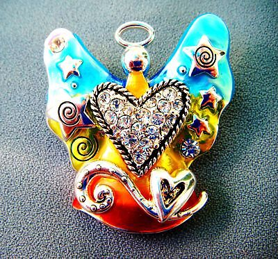 (ANGEL Enamel Magnetic Pendant-Inspiring Artwork-Rhinestones-2 inches)