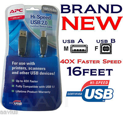 APC USB 2.0 A to B Best Hi High Speed Cable For Printer Scanner PC MAC 16FT