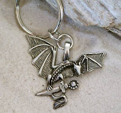 DRAGON PAGAN FANTASY Pewter KEYCHAIN Key Ring FOB