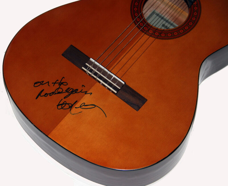 "Willie Nelson Autographed Signed Classical Guitar w/ Lyrics ""On The Road Again"""