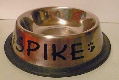 PERSONALIZED 8 oz. x-small sized stainless steel non-skid DOG BOWL!!