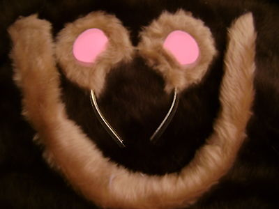 Mouse Ears And Long Tail Light Brown/Pink Fancy Dress Handmade Kids & Adults Fab