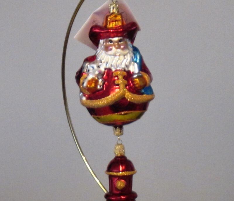 Christopher Radko Firehouse Cheer/Dalmatian/Fireman Santa 2-part Xmas ornament