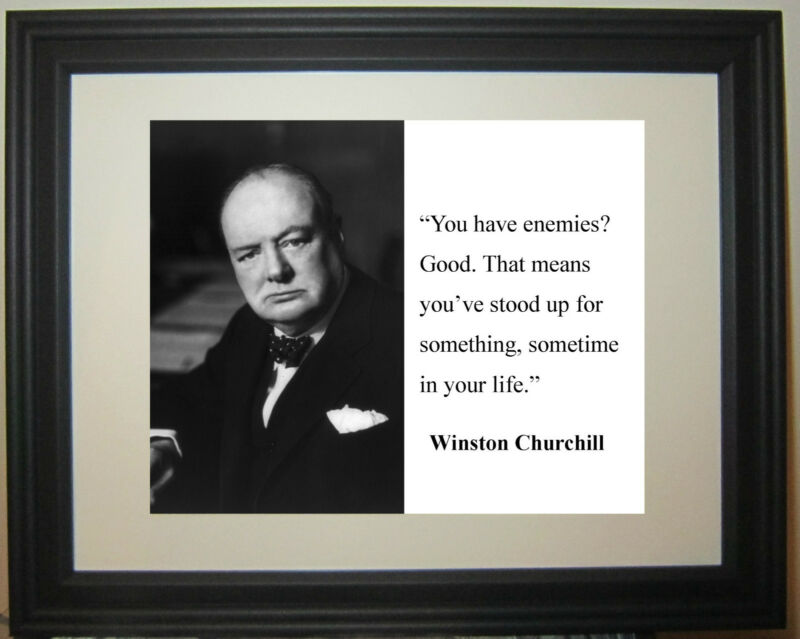 """Winston Churchill  """"enemies """"  Famous Quote Framed Photo Picture"""