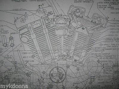 HARLEY DAVIDSON XL Sportster Engine Blueprint poster print showing parts Drawing