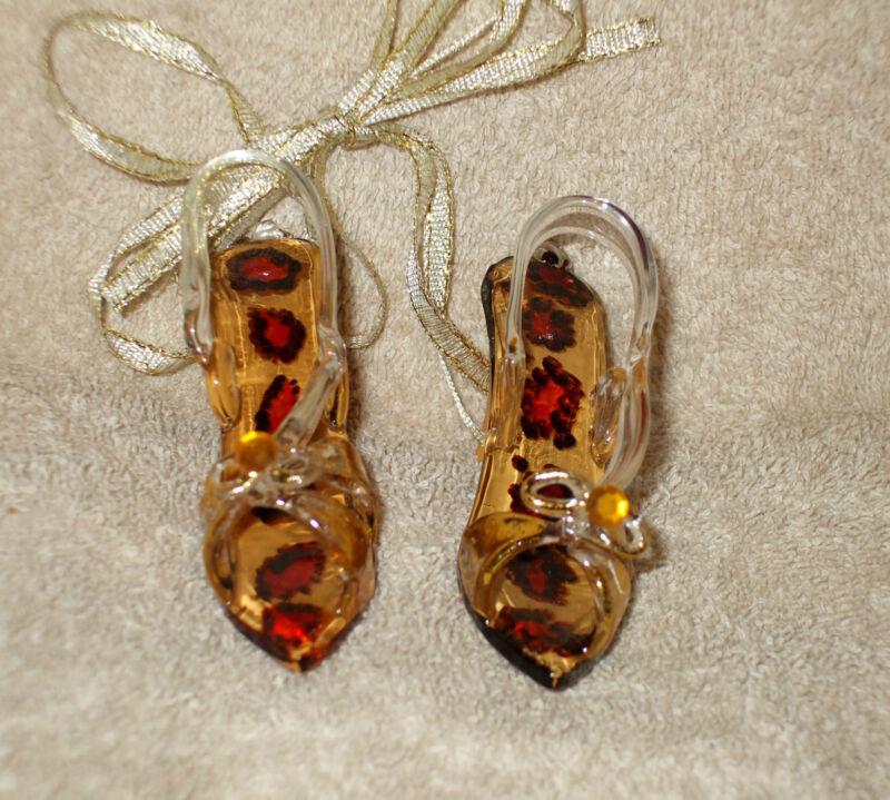 2 Glass CHEETAH PRINT SHOE Christmas Ornaments - NEW