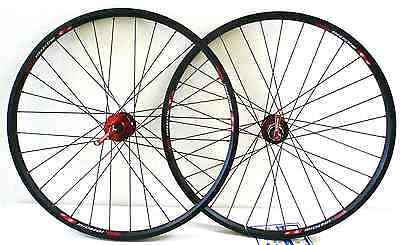 26'' x1.5 alloy Mountain Bike wheelset Rims Q/R 6-Bolt Disc 8/9 speed Red Hub