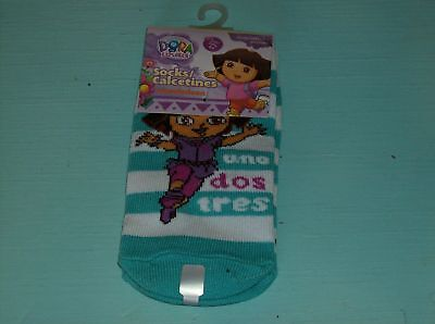 Aqua Striped Dora The Explorer Size 4 -6 Ankle Socks With Uno Dos Tres