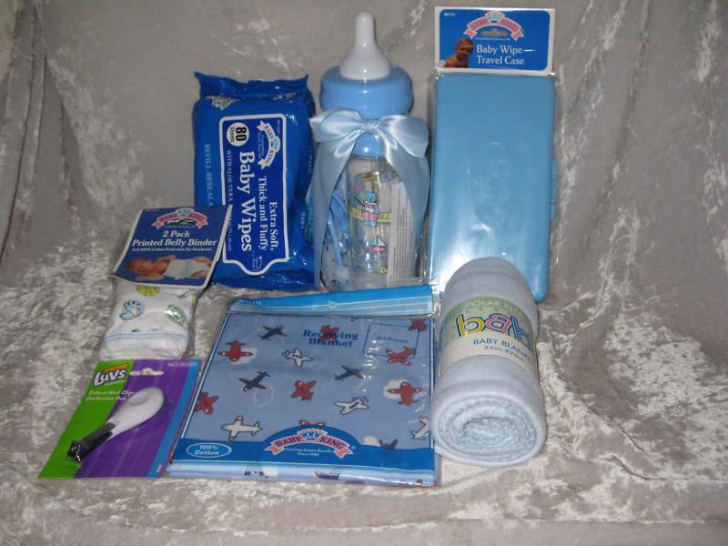 Baby Bottle Bank Bib Blanket Clipper Wipes Teether Blue
