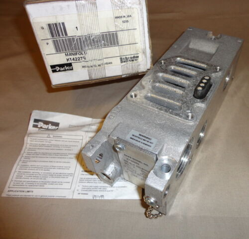 PARKER K142270 PNEUMATIC SOLENOID VALVE MANIFOLD SCHRADER BELLOWS NEW